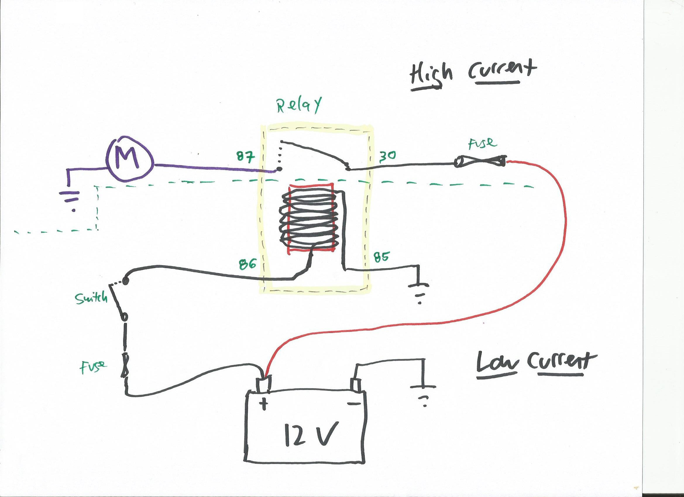 Relay in realistic circuit