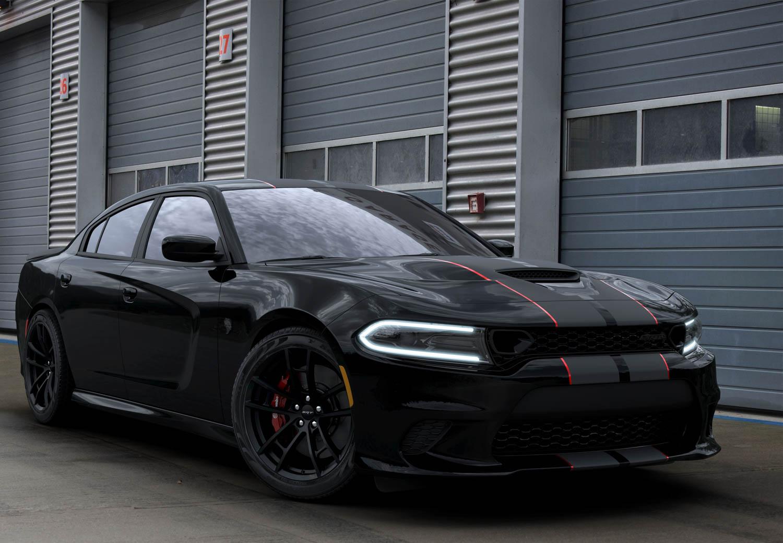 black 2019 Dodge Charger SRT Hellcat Octane Edition front 3/4