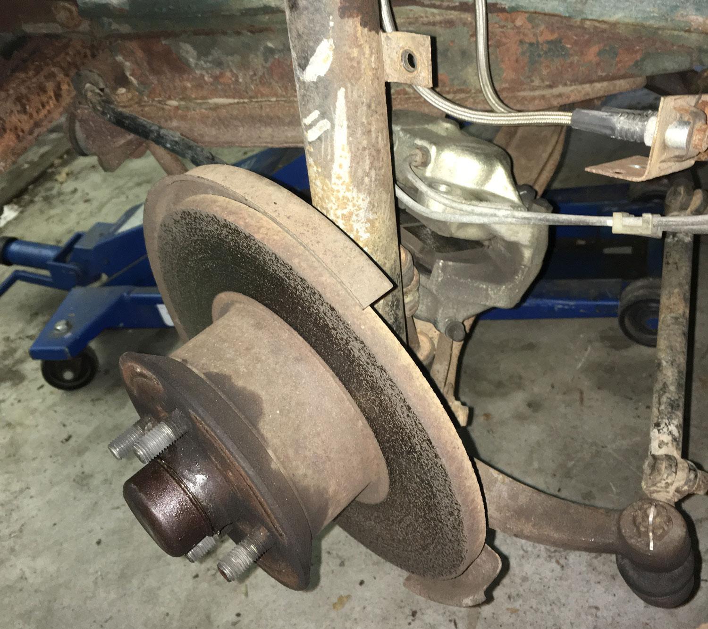 caliper away from brake line