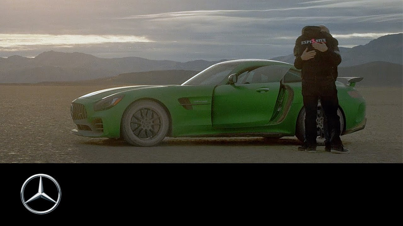 Blind mechanic gets thrill of a lifetime driving an AMG GT R in the desert thumbnail
