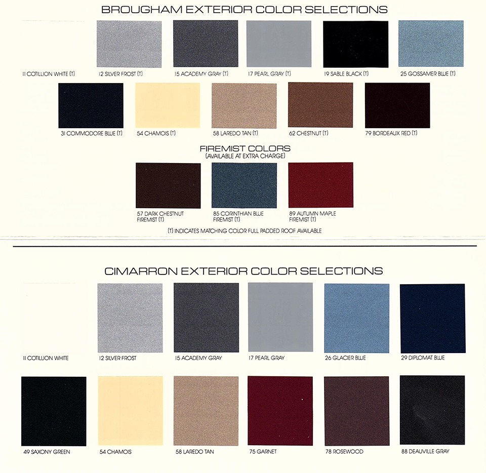 1987 Cadillac paint options