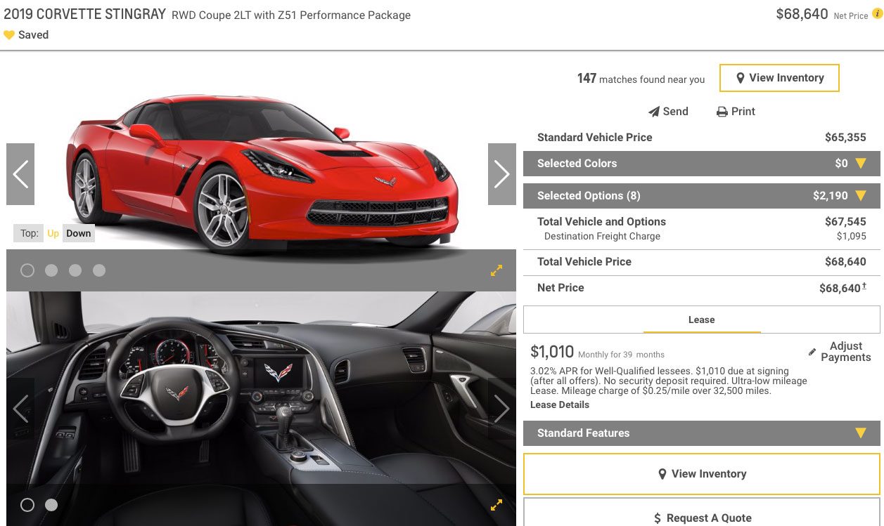 2019 Corvette Stingray Z51 Coupe 2LT