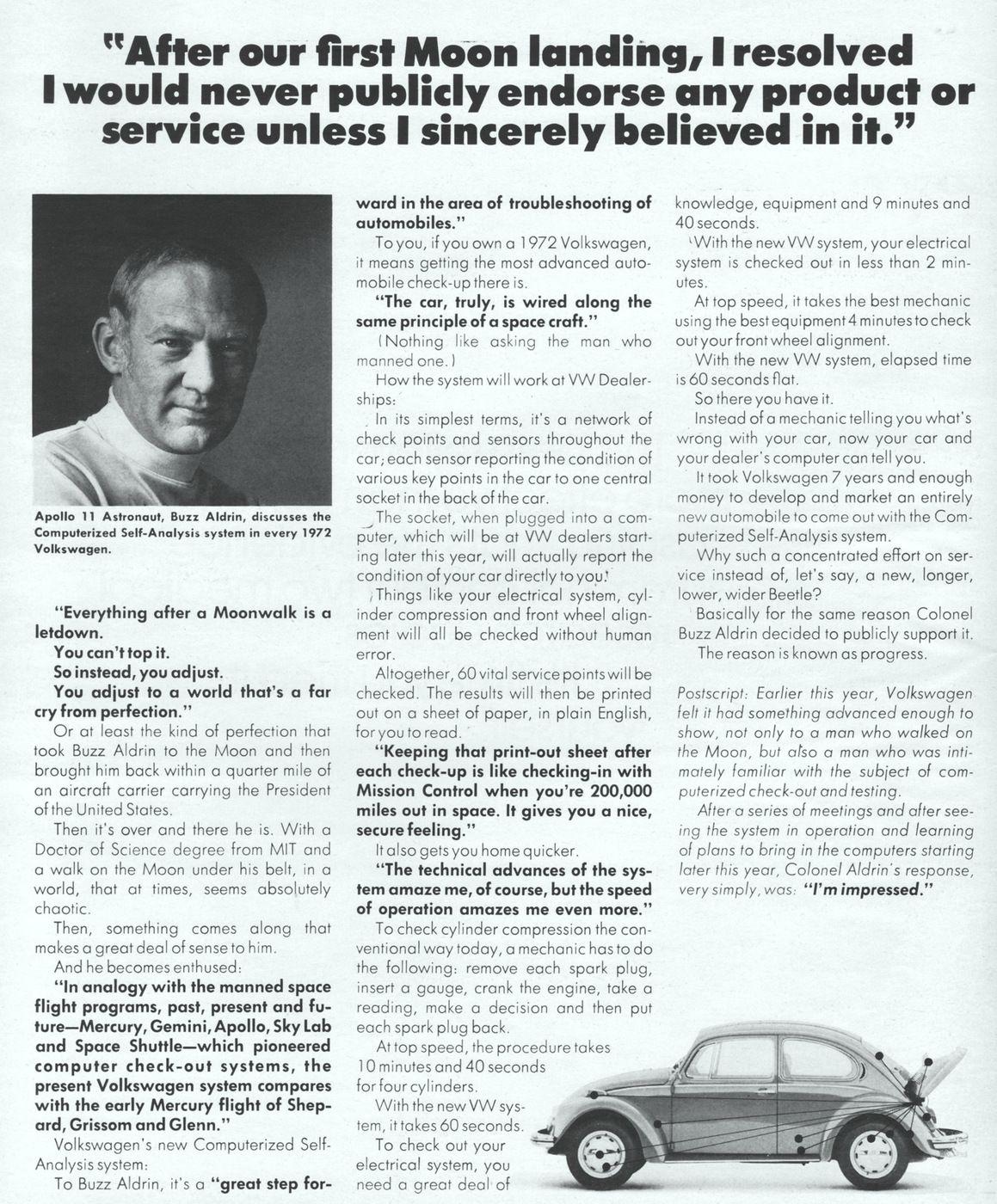 "Edwin ""Buzz"" Aldrin Volkswagen Advertisement"