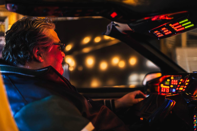 Aaron Aikman behind the wheel of KITT