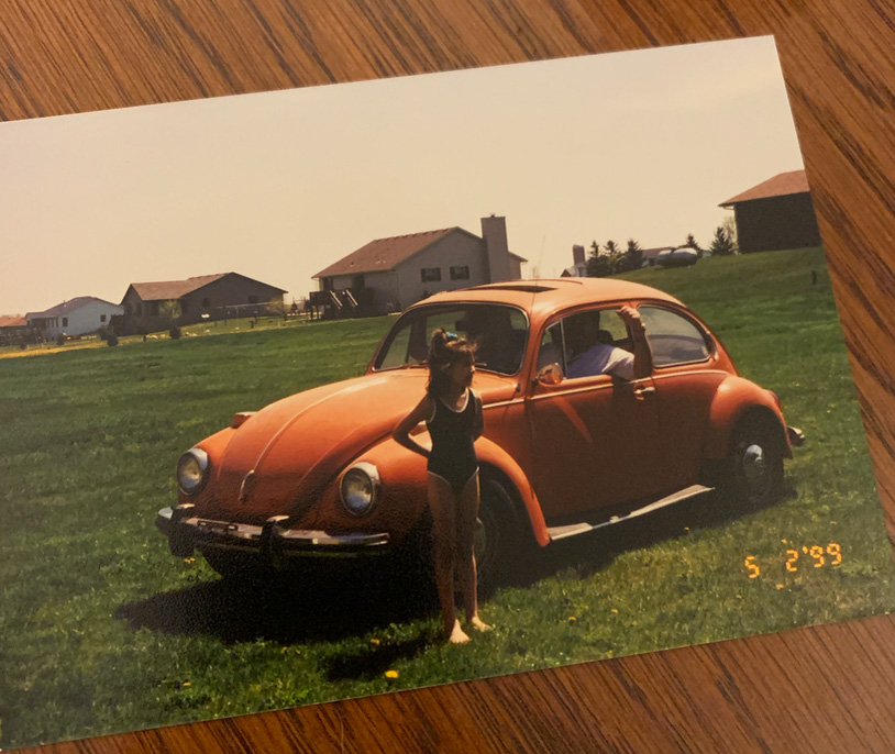 Whitney Wickesberg with the Beetle as a child