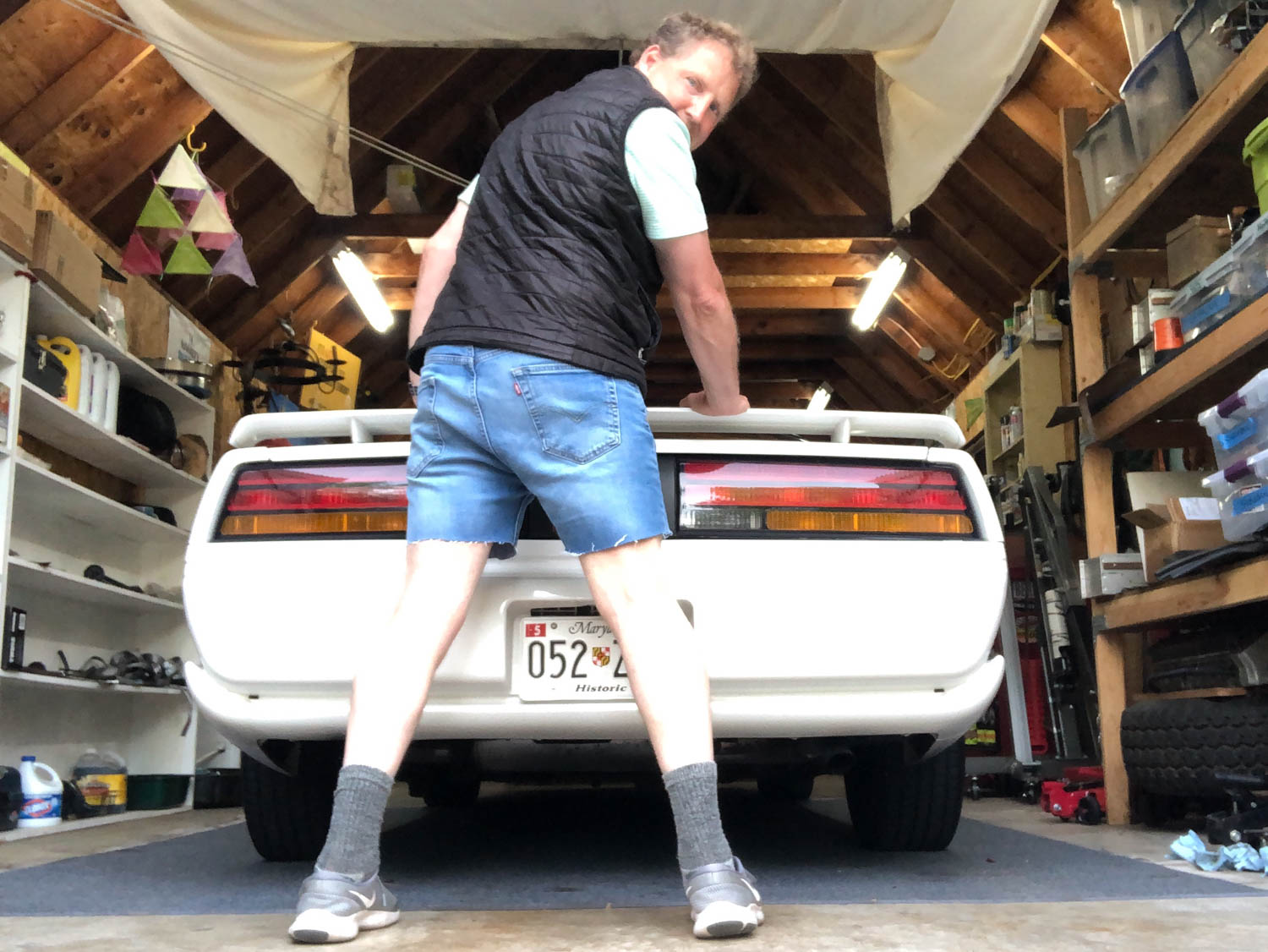 Our man Brad Phillips shows his best angle in a pair of jorts, an image that, once you've seen it, can't really be unseen. Sorry.