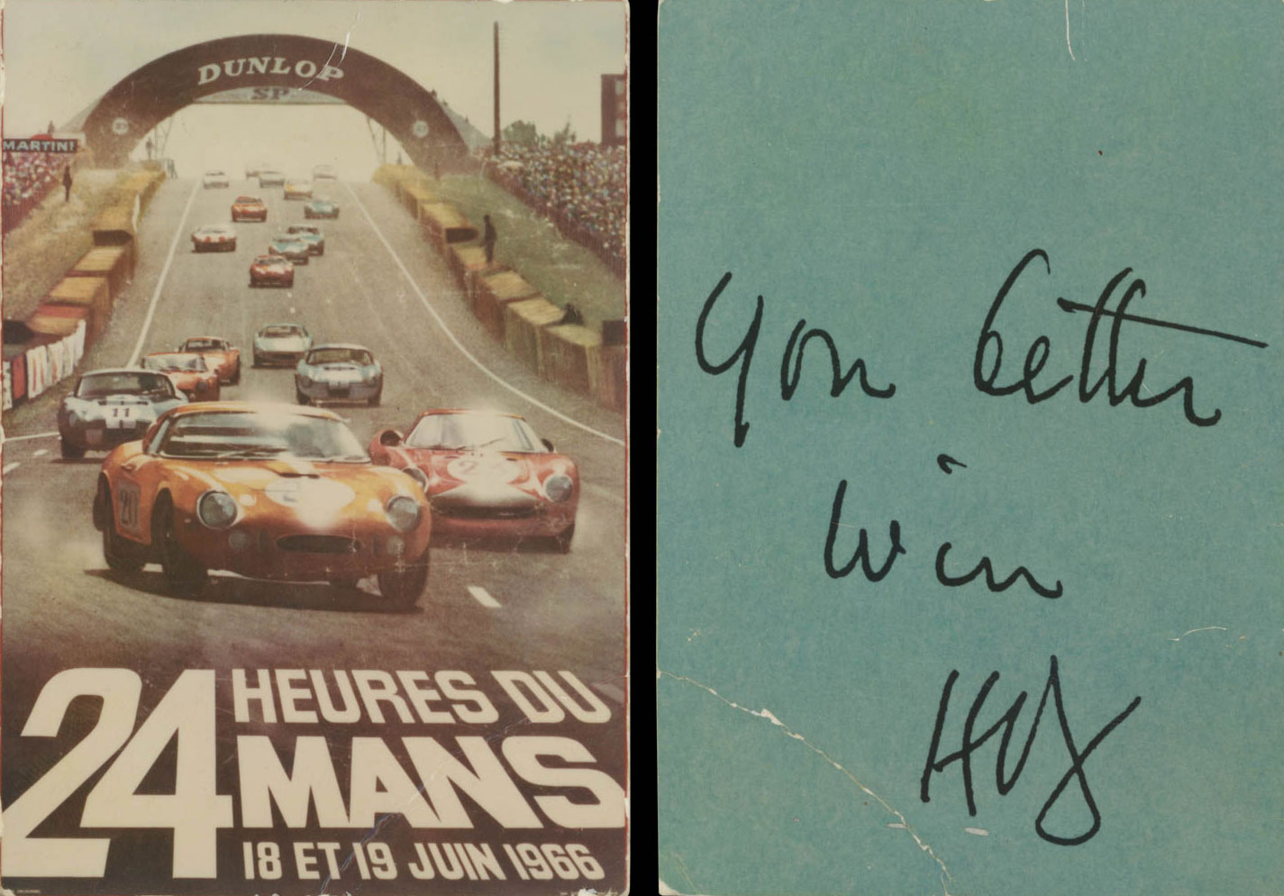 "A ""motivational"" note for motorsports manager Leo Beebe on the back of a ""24 Heures du Mans"" card"
