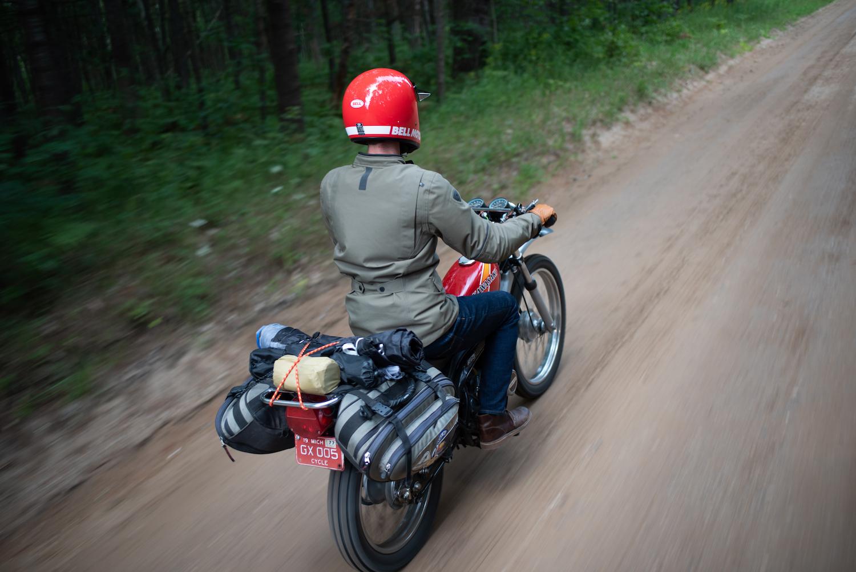 backroad vintage kawasaki motorcycle rider