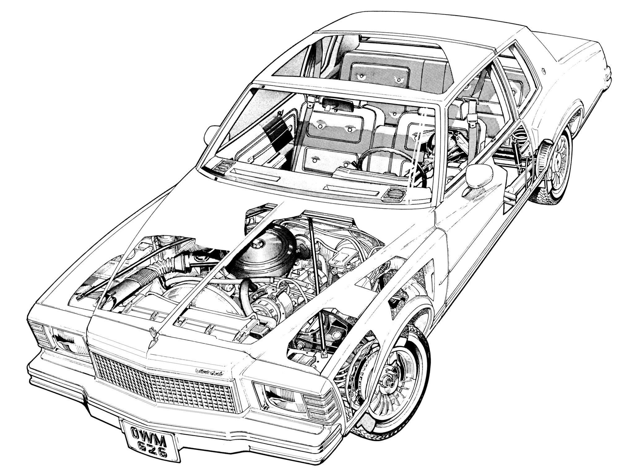 1978 Chevrolet Monte Carlo Cutaway Design Sketch