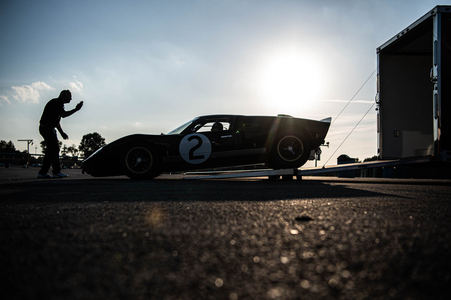At the end of the day, Kauffman backs the GT40 onto his trailer.