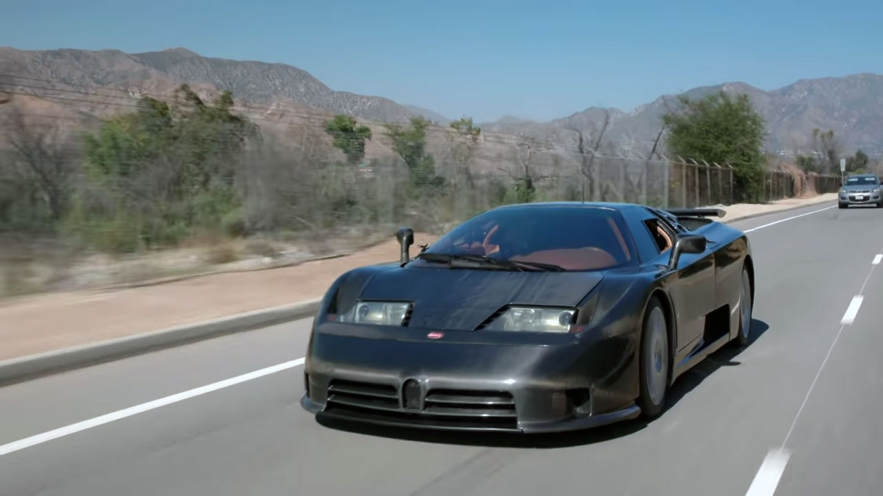 Jay Leno drives the world's only naked carbon-fiber EB110 thumbnail
