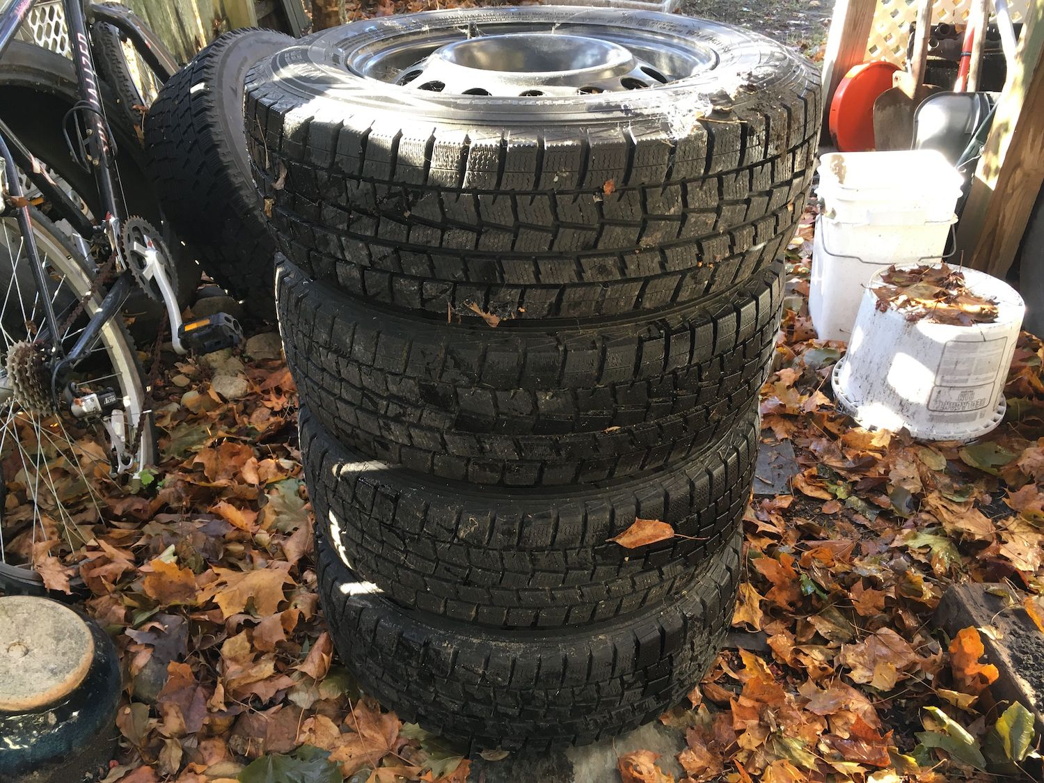 stacked winter tires