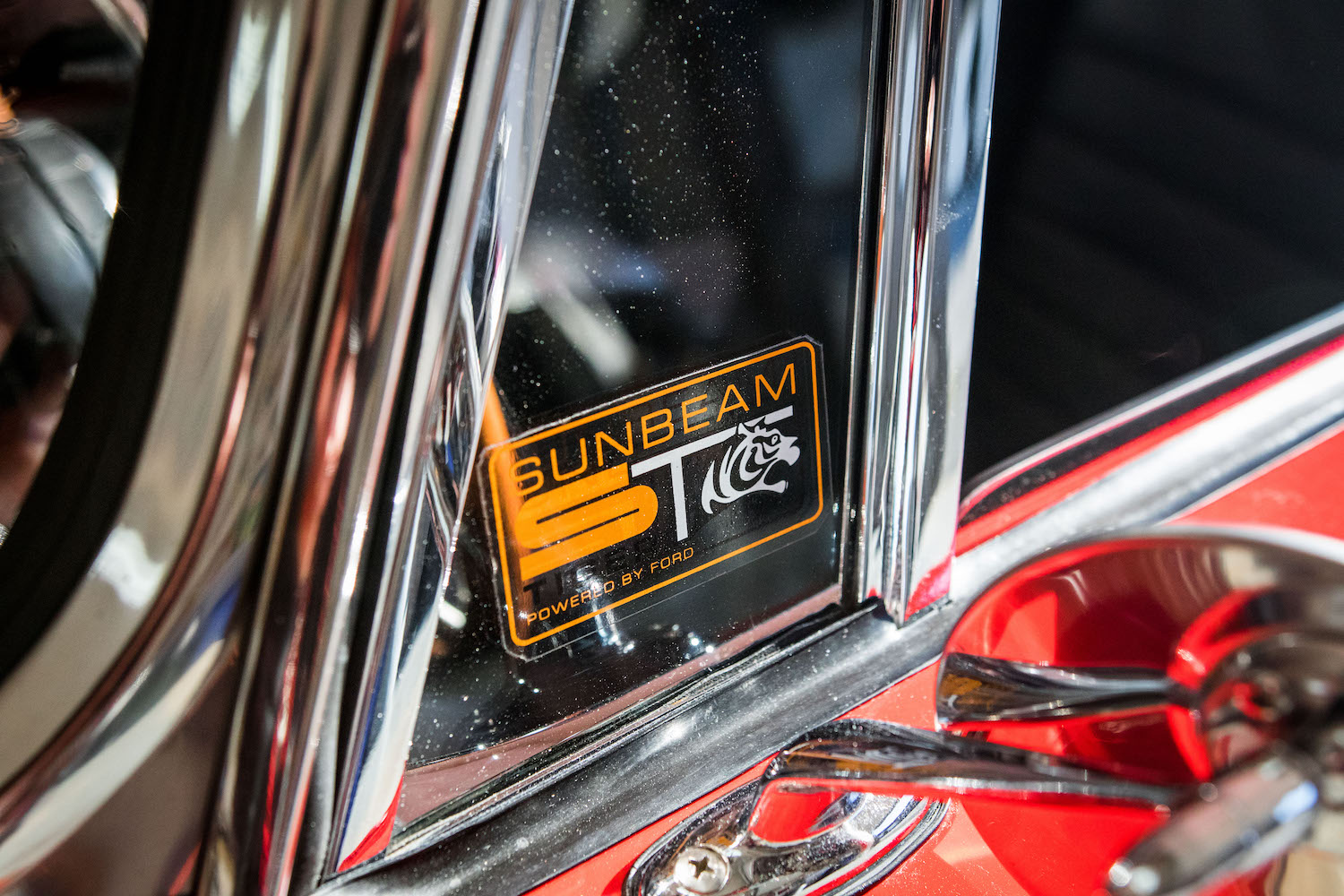 red sunbeam tiger glass detail
