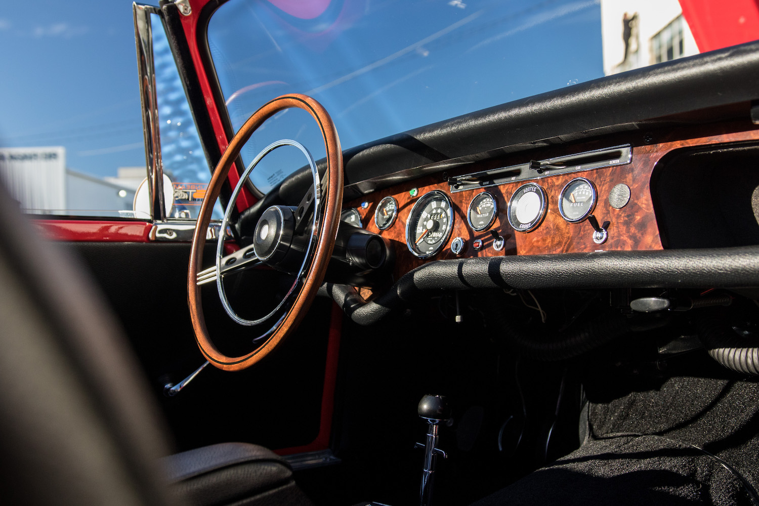 red sunbeam tiger interior wheel