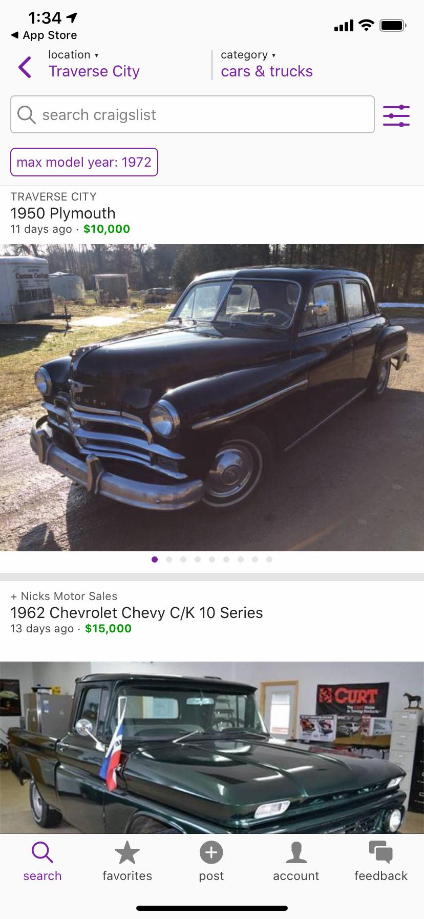 Craigslist cars trucks local listings page