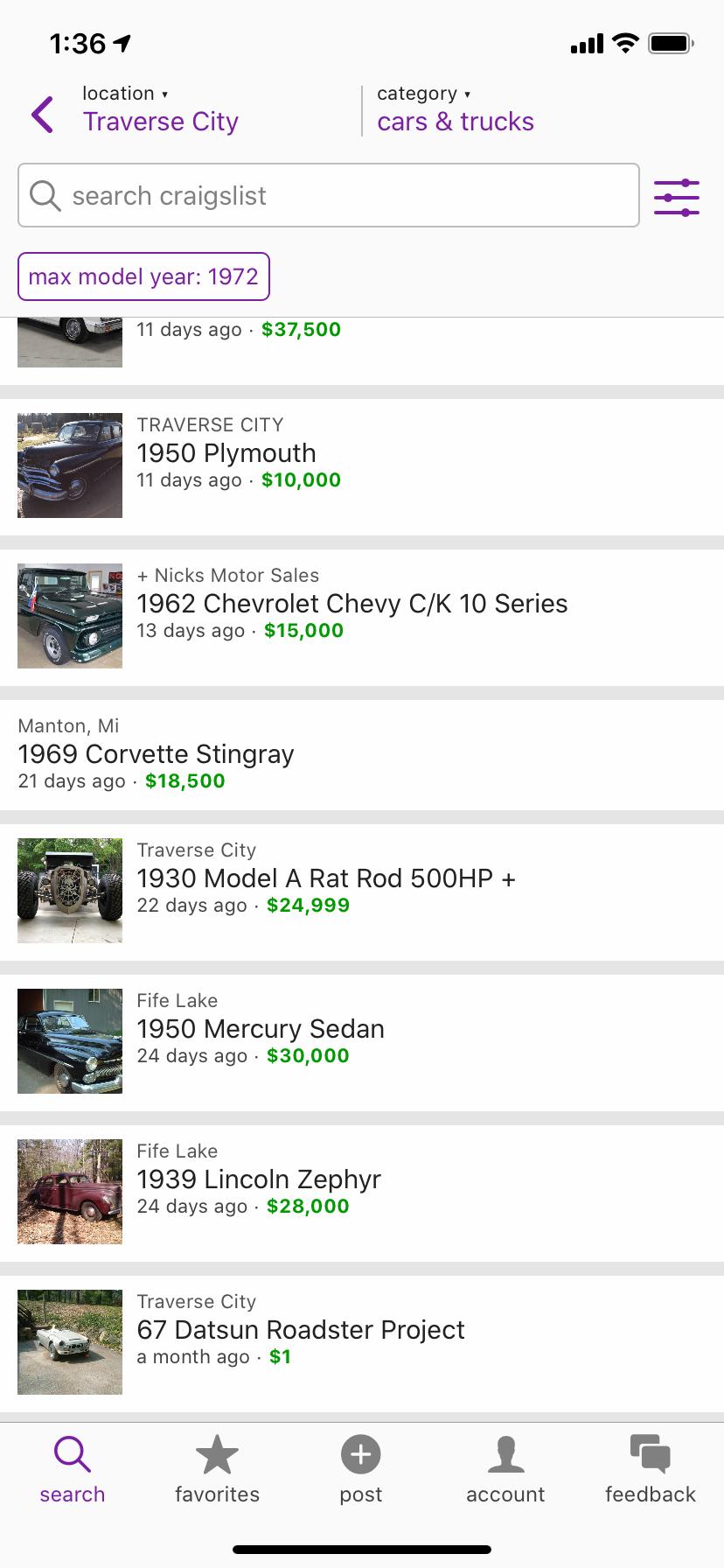 Craigslist mobile local vehicle listings menu ux