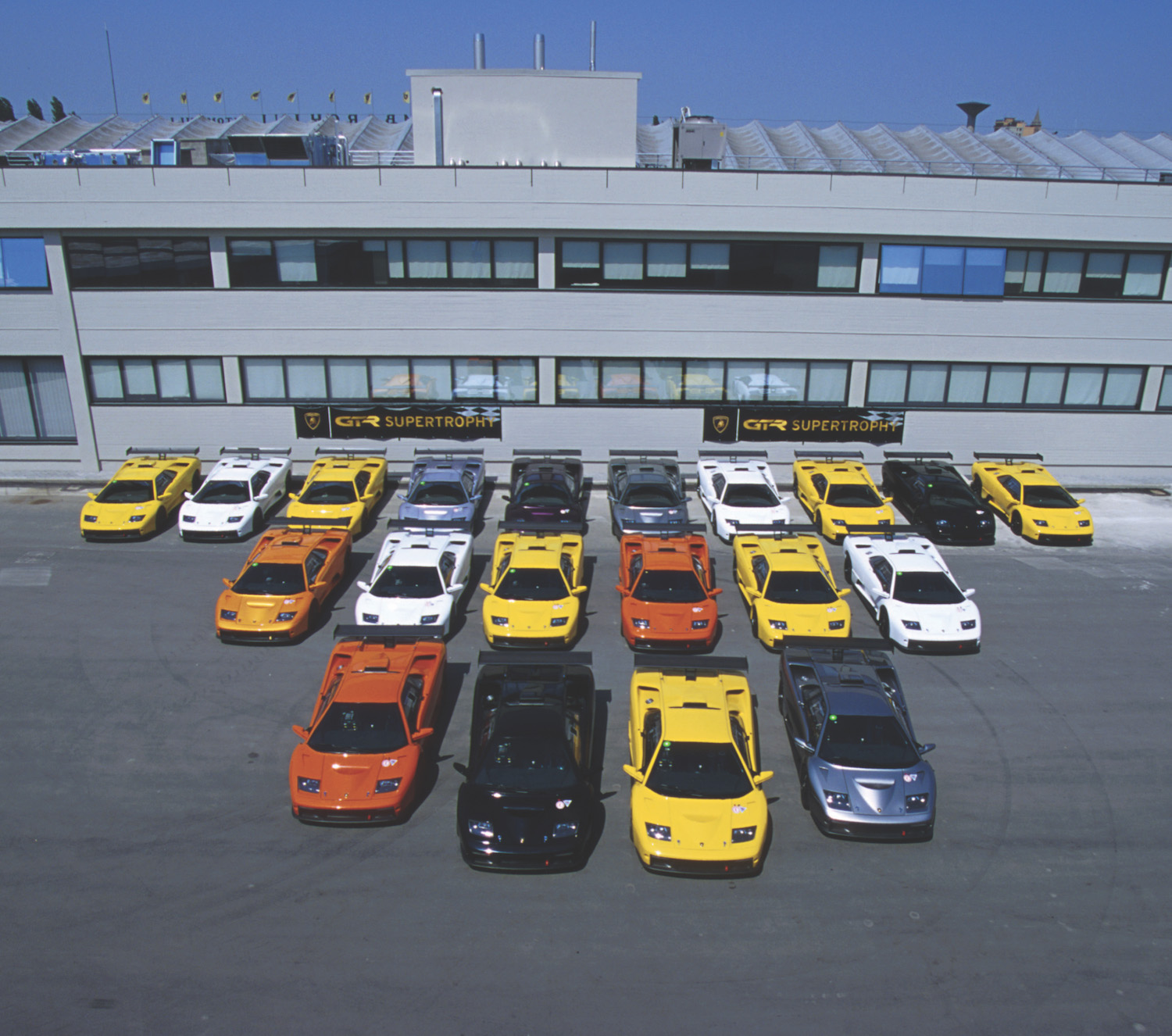 overhead lot of lamborghini cars