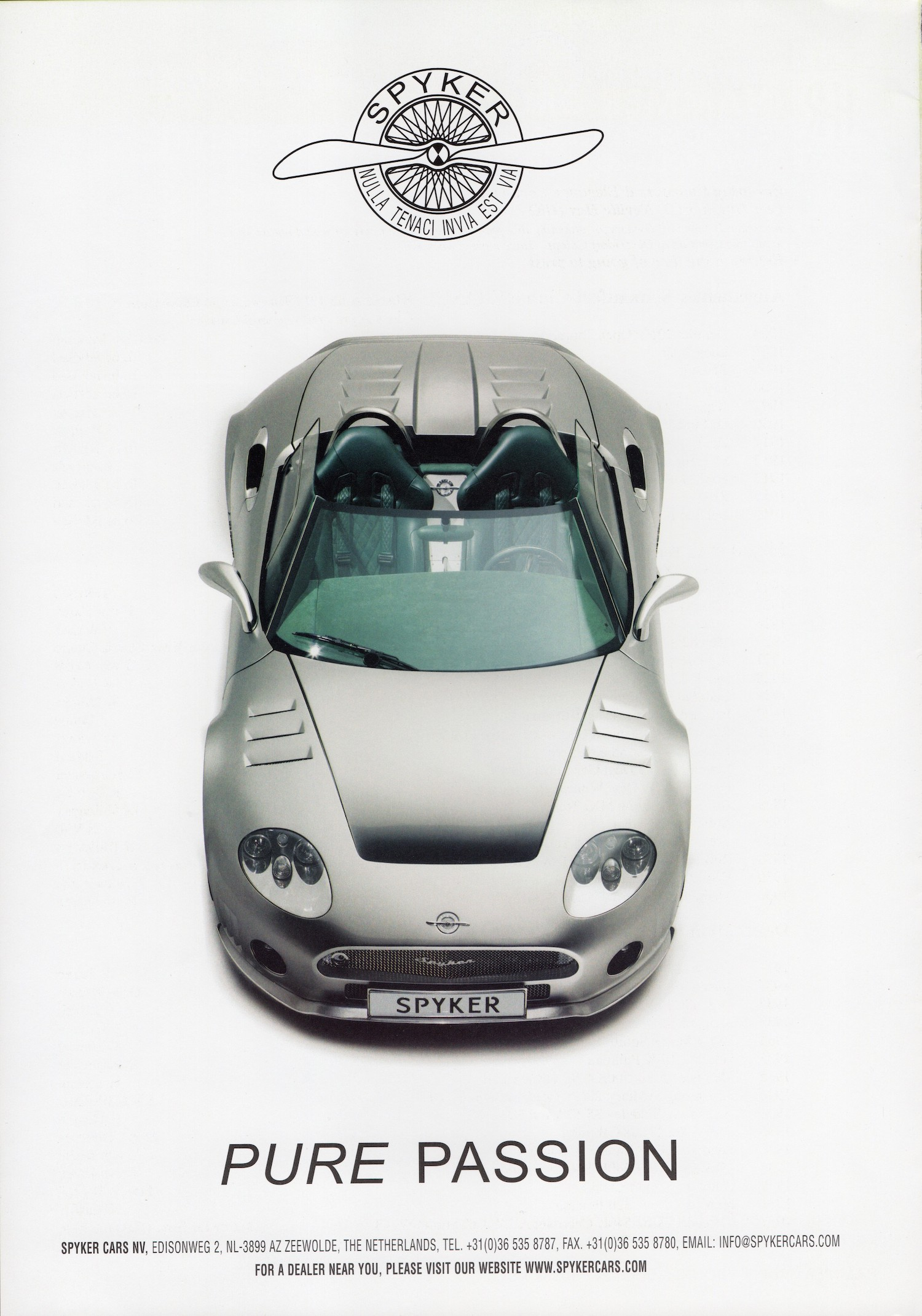 spyker pure passion supercar ad