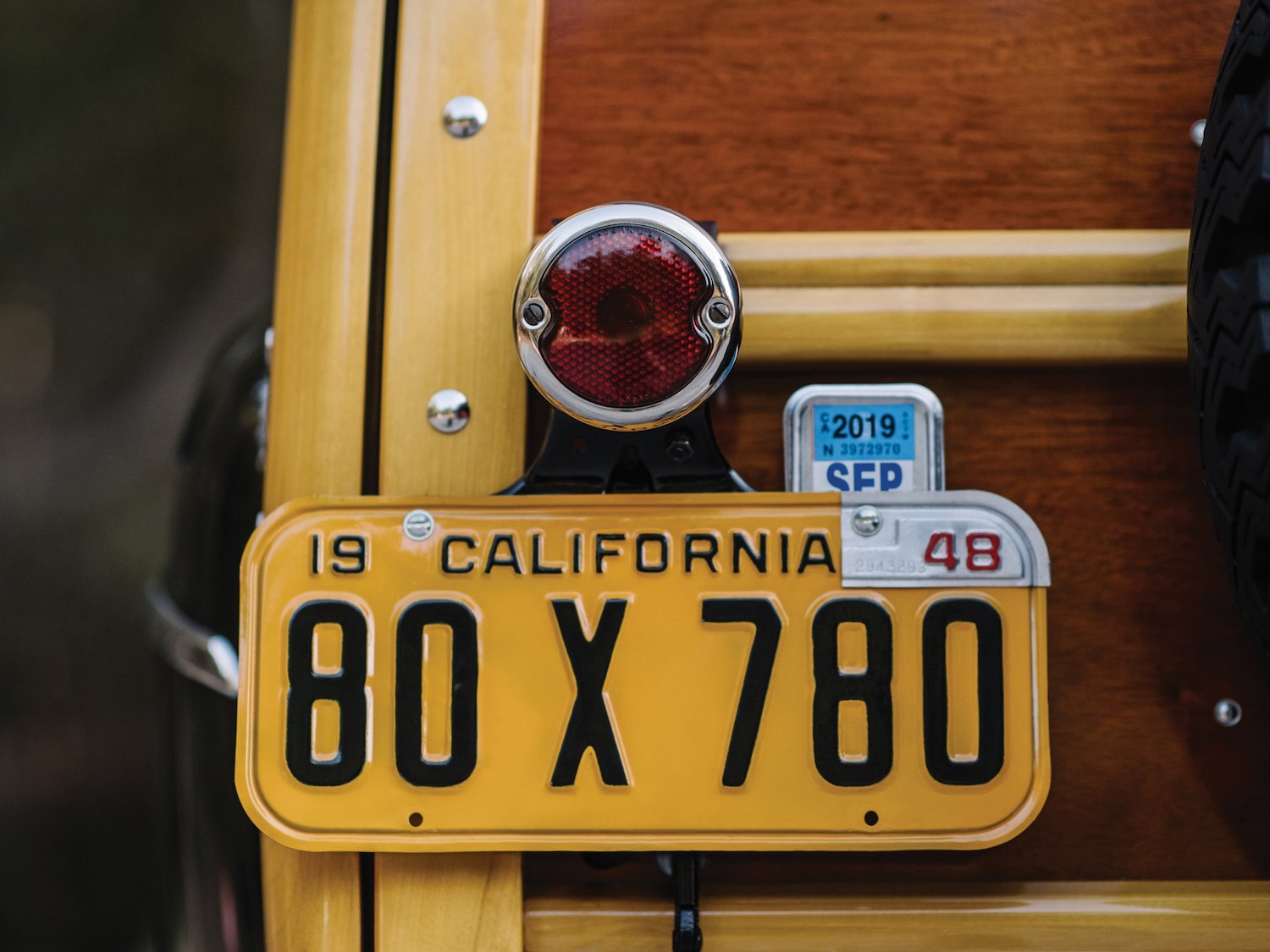 taillight and vintage plate