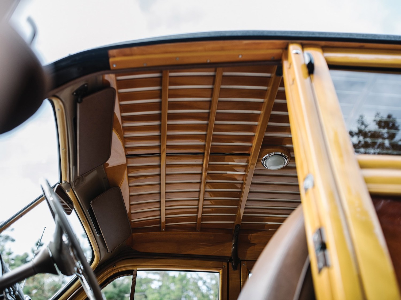 interior headliner and roof woodwork