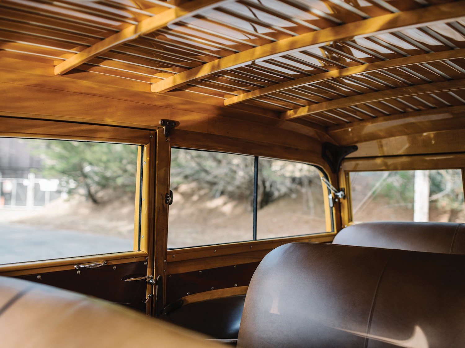 interior wood and leather seats