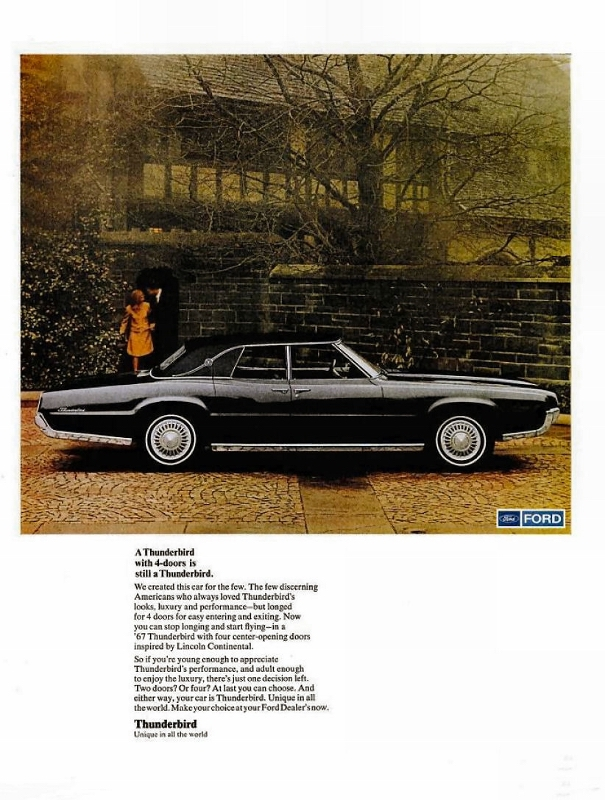 1971 four door thunderbird side-view ad