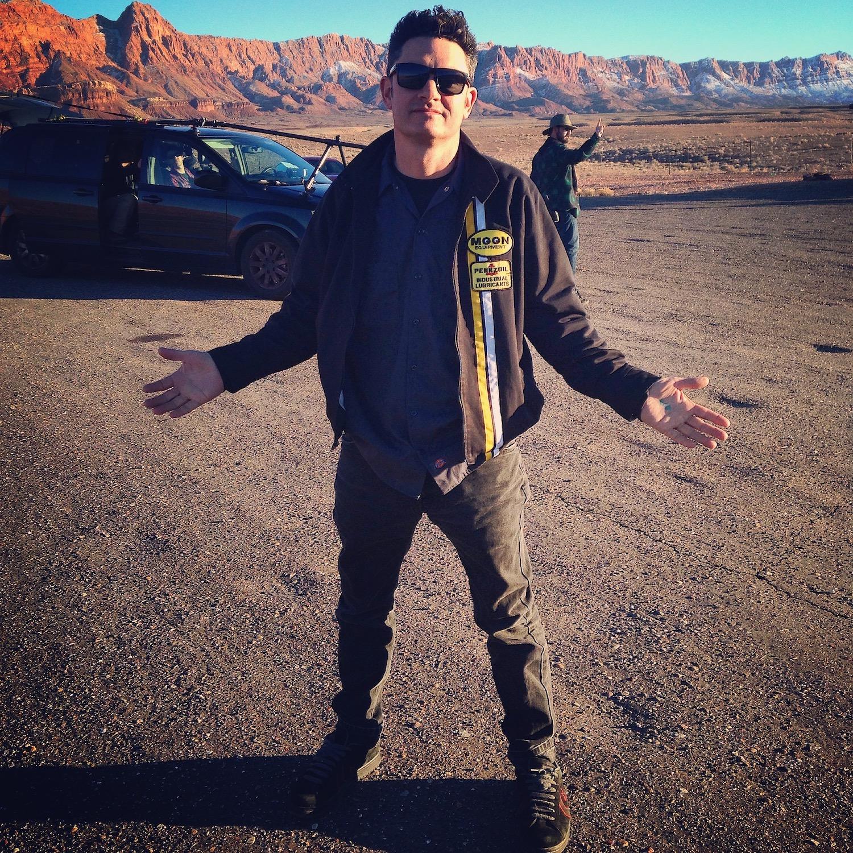 milburn on set in the desert