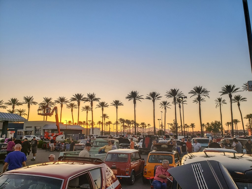 arizona skyline during car show at dusk