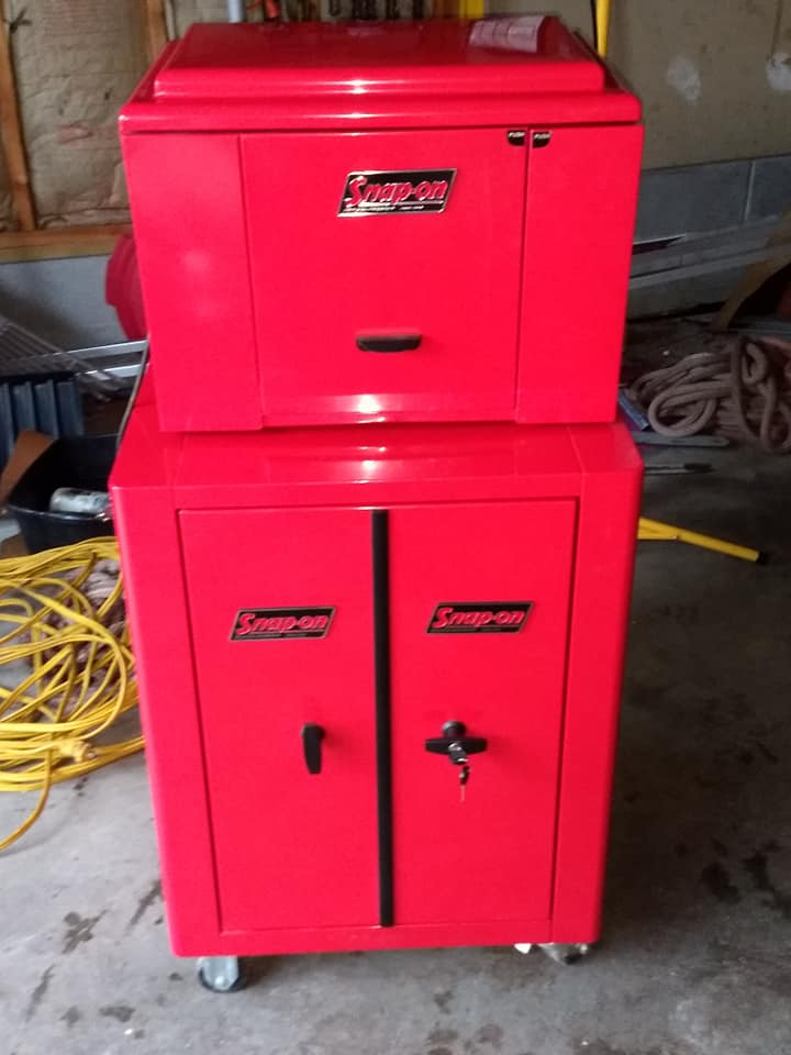 red front tool themed refrigerator microwave