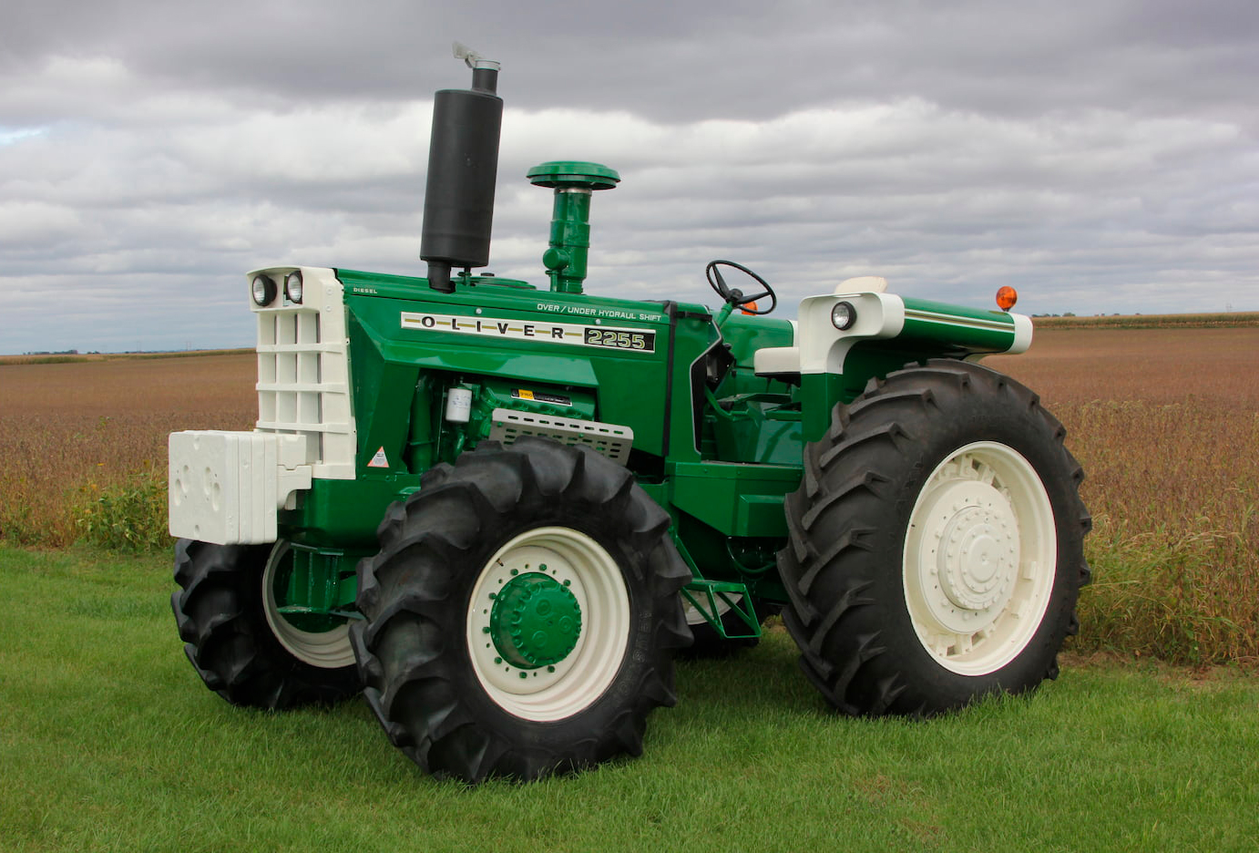 green oliver tractor front three-quarter