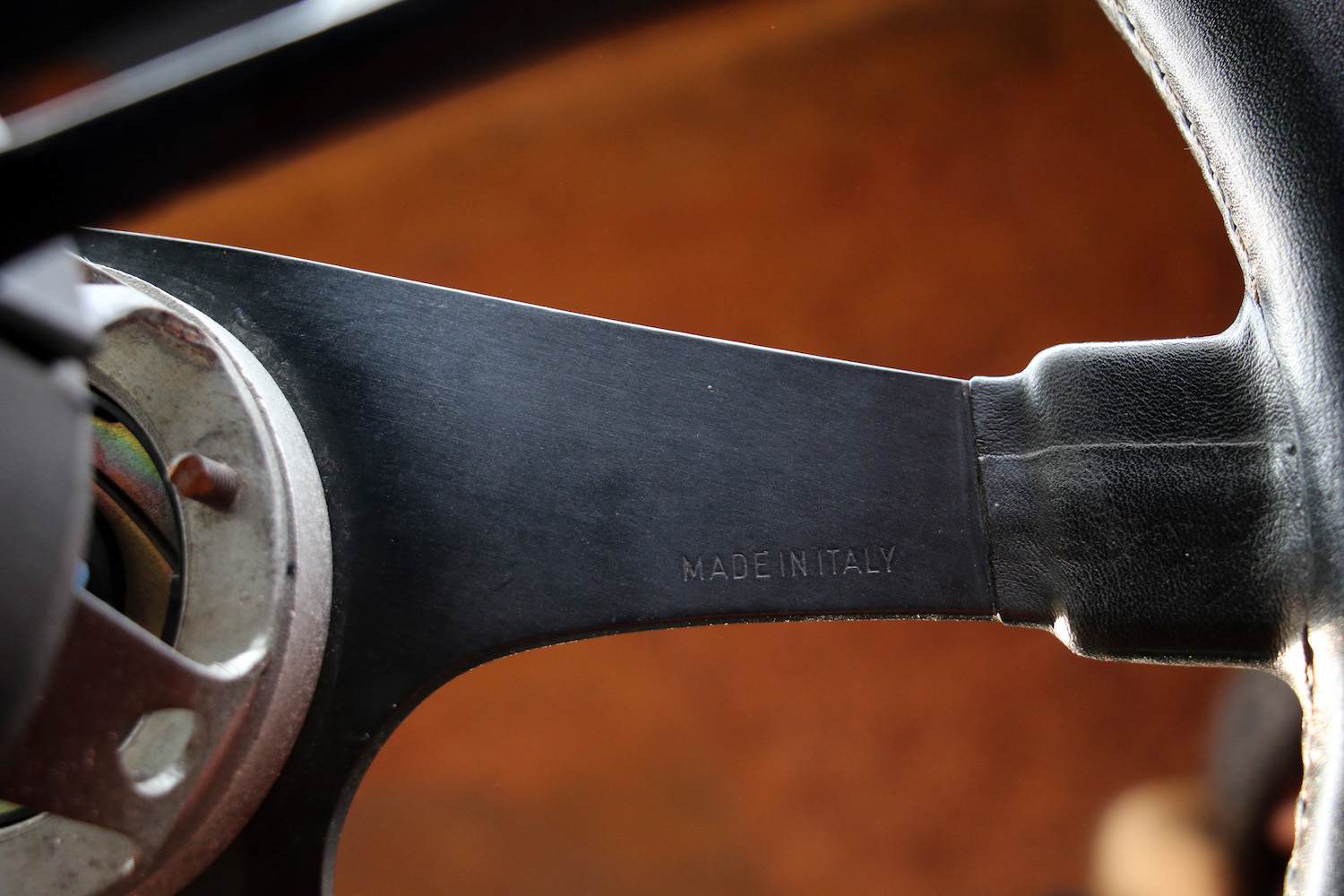 steering wheel made in italy close up