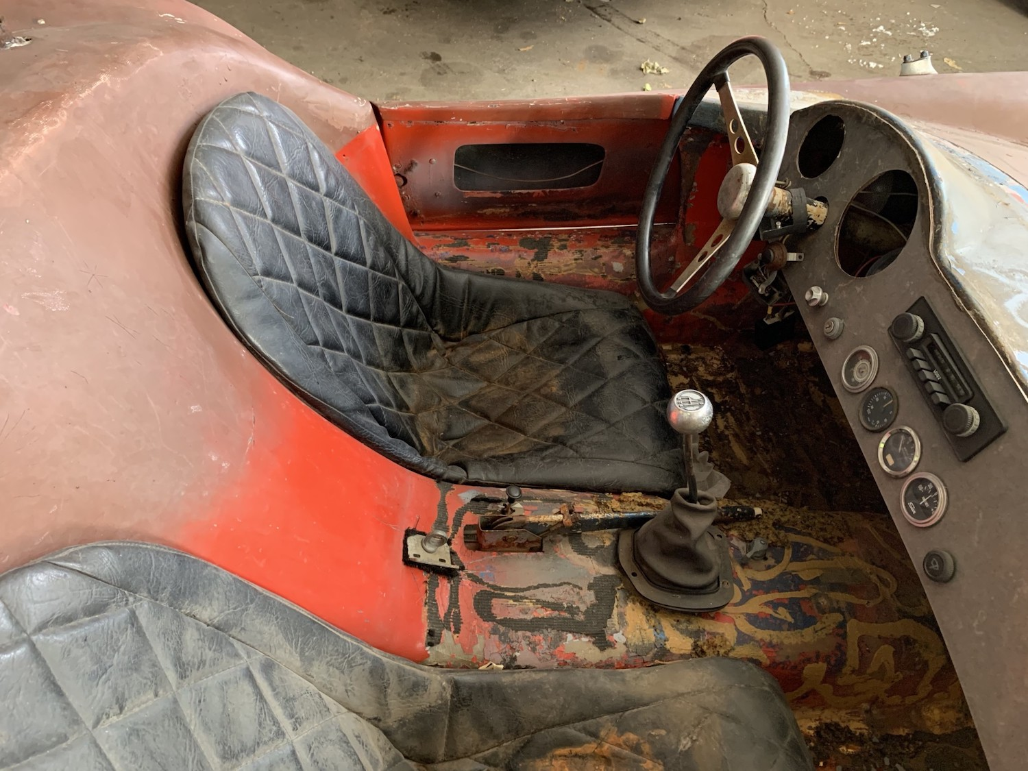 1963 Devin C rolling chassis interior cockpit