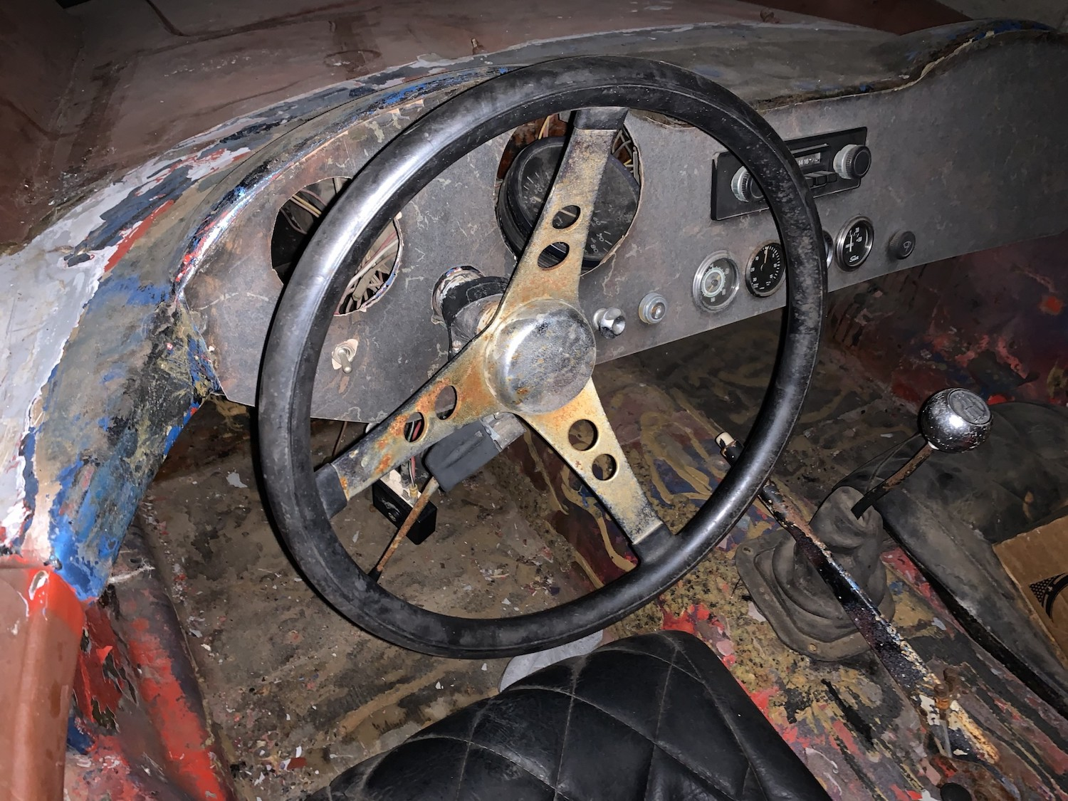 1963 Devin C rolling chassis steering wheel