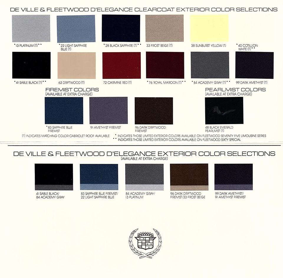 80s cadillac fleetwood delegance color options