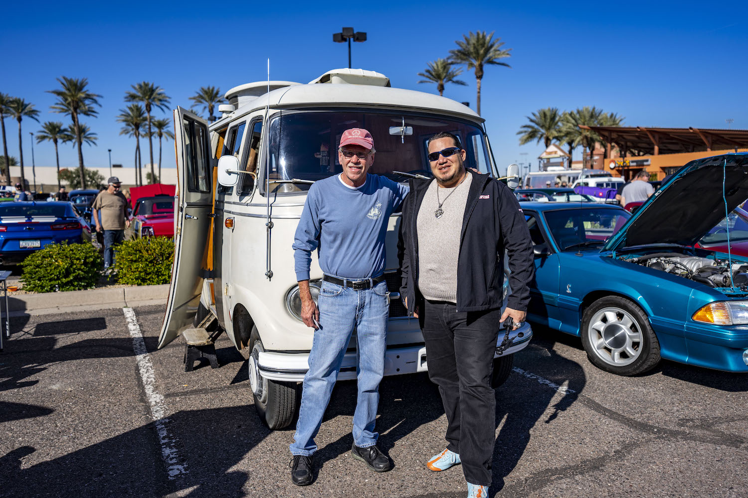 current owner bob knowles and david young in front of westfalia van