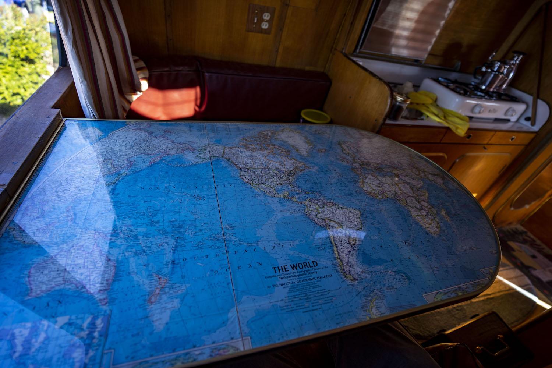 mercedes benz westfalia interior globe map table