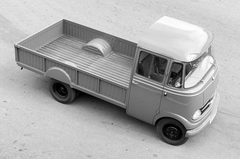 1955 mercedes benz work truck overhead front three-quarter