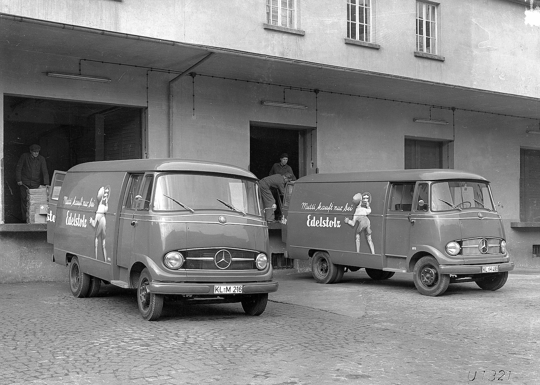old mercedes benz westfalia panel vans at work