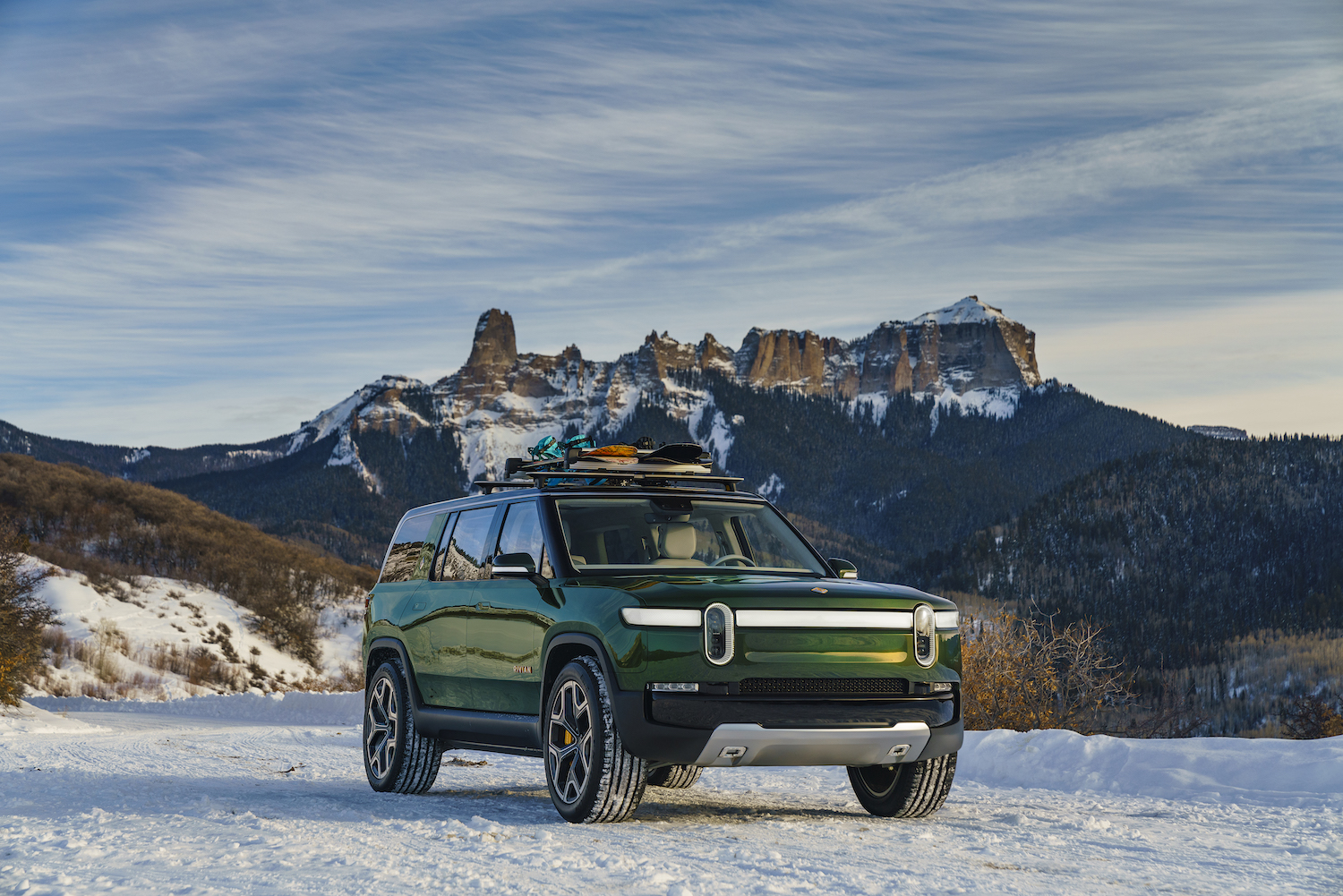 new rivian suv front three-quarter