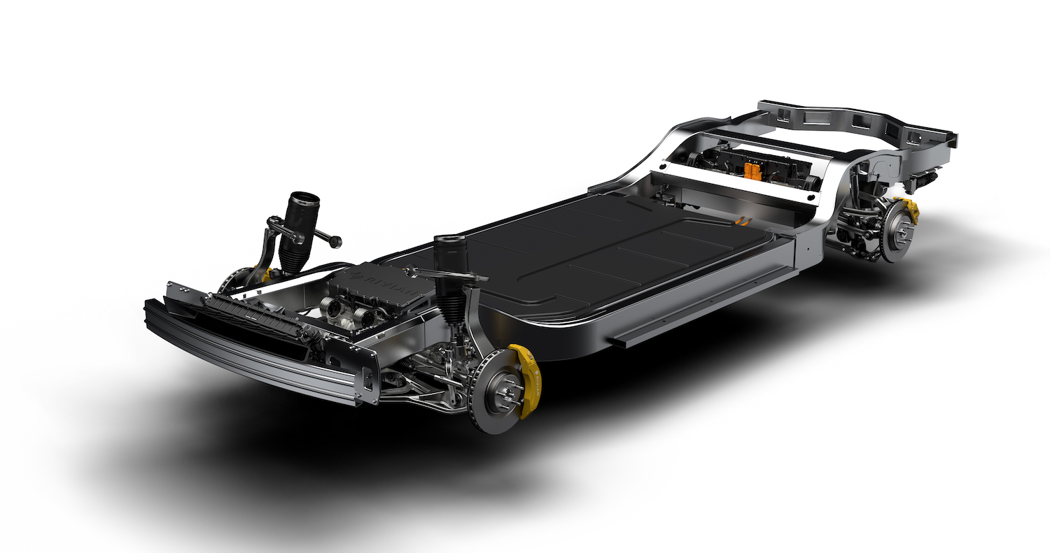 rivian skateboard chassis front three-quarter