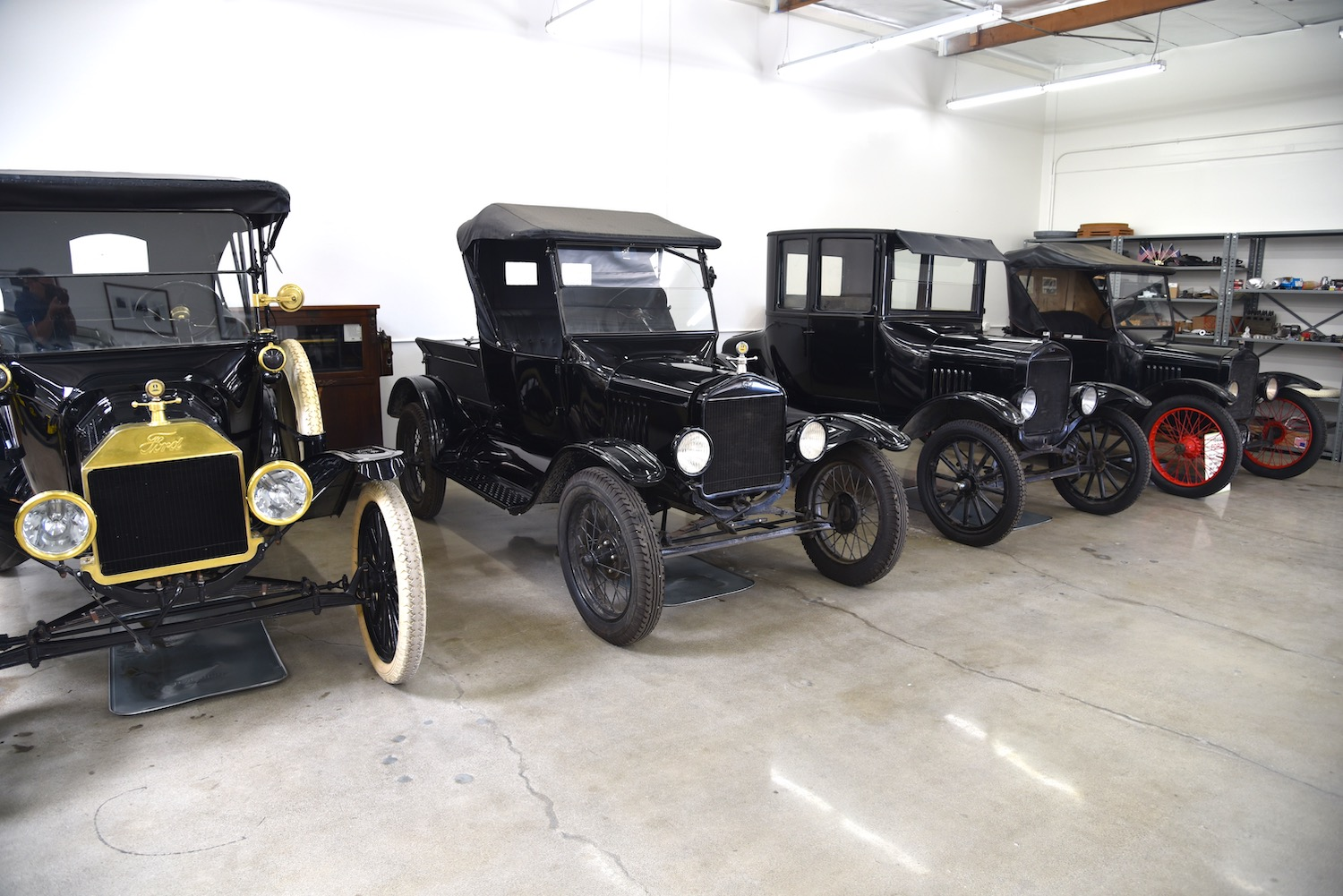 vintage fords in garage