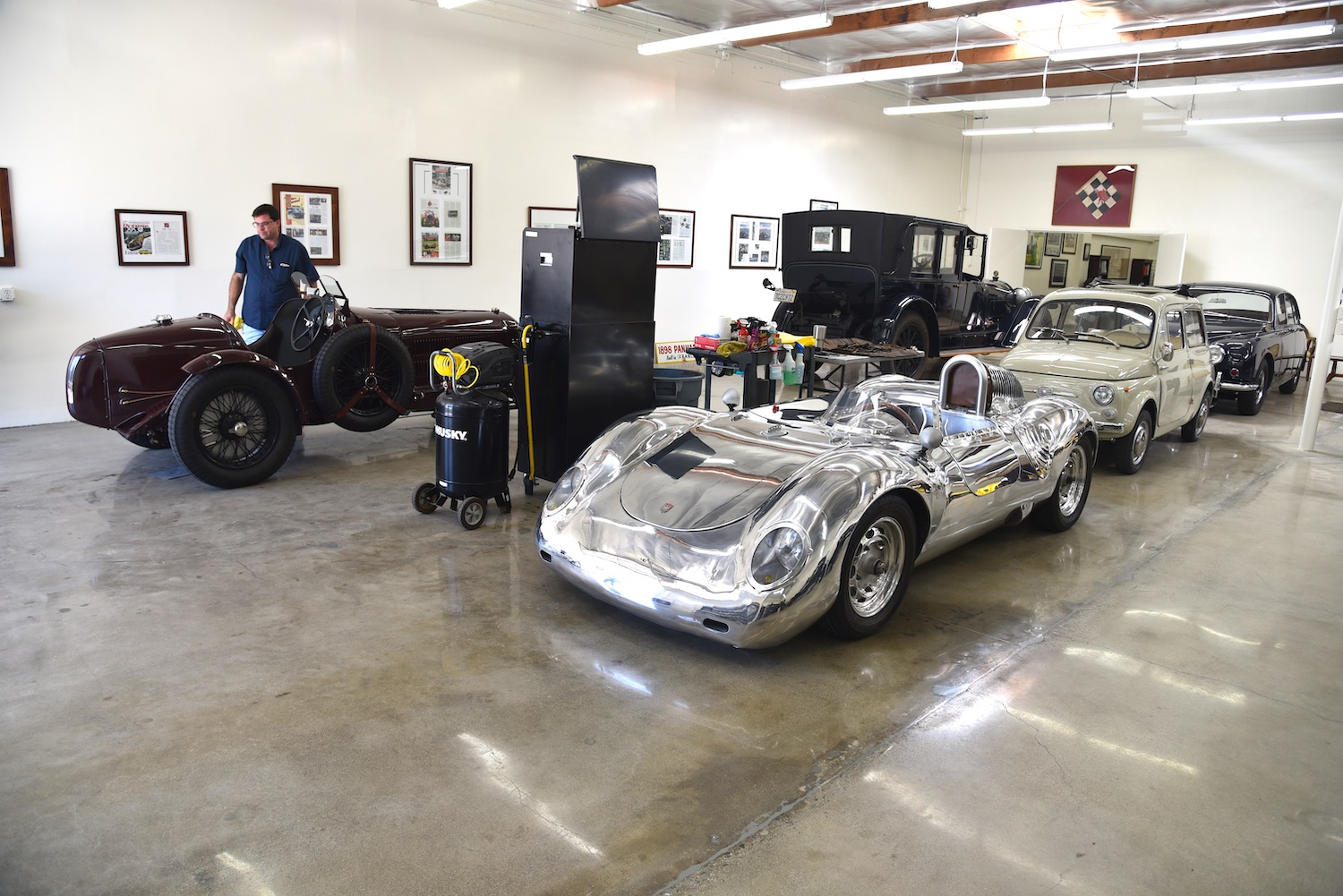 vintage cars in garage