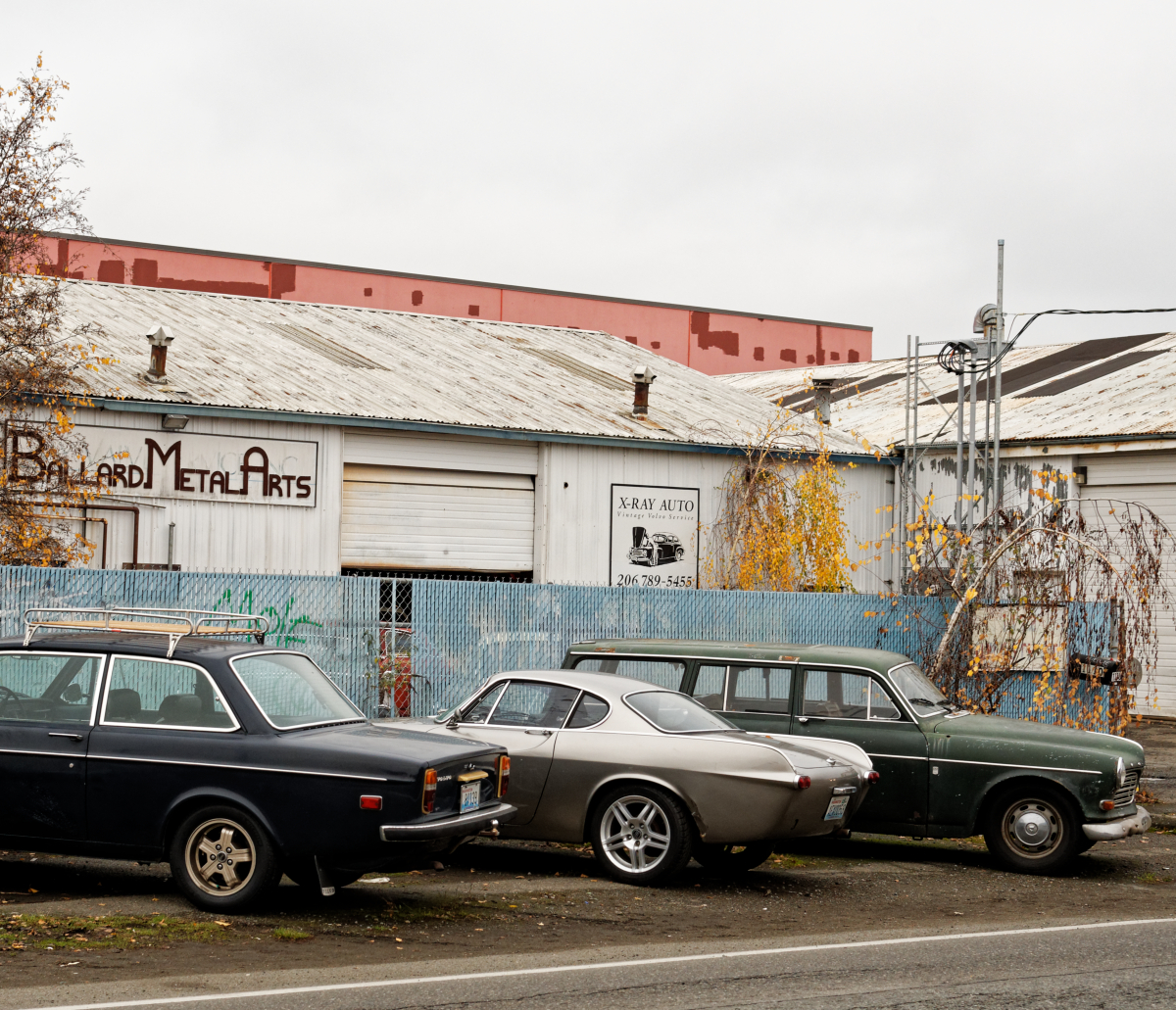 old volvo in row on street