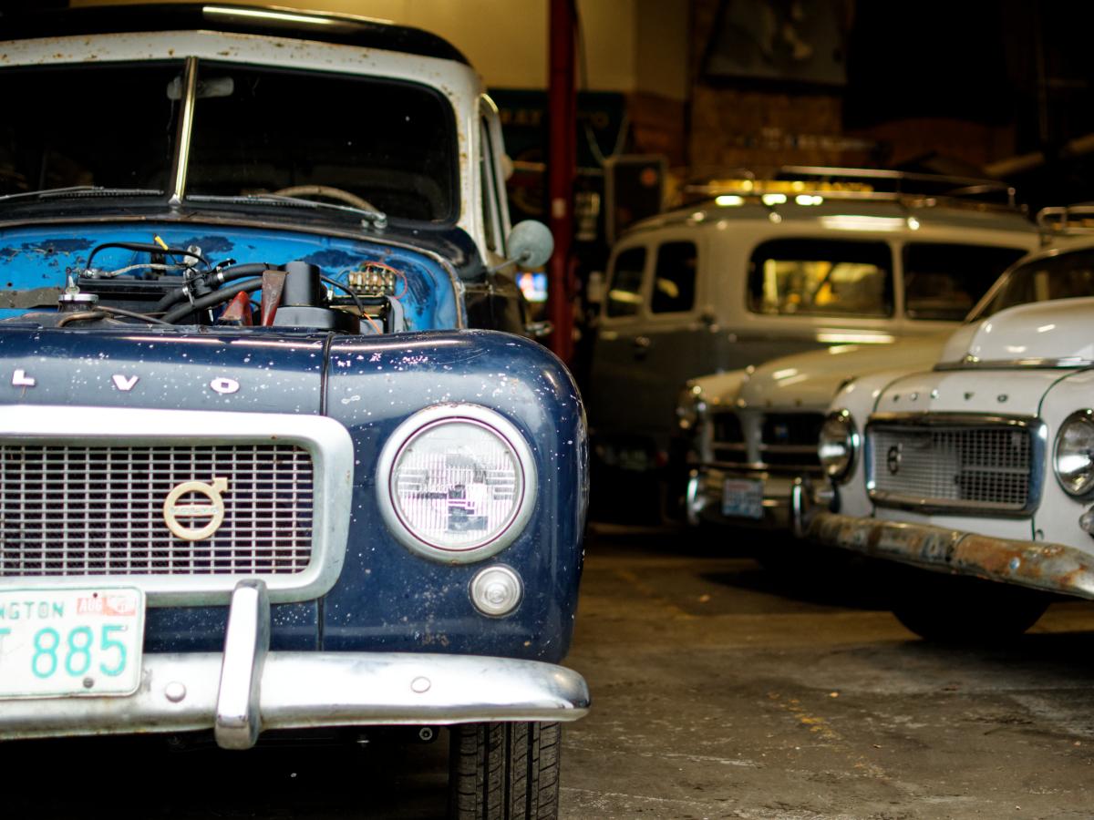 vintage volvos in garage