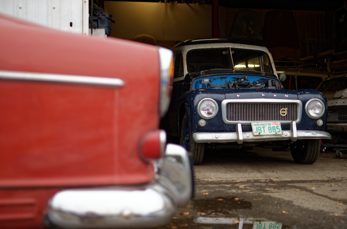 vintage volvo in garage