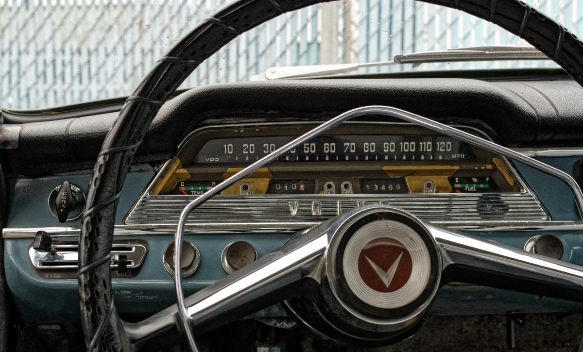 vintage volvo front dash and wheel