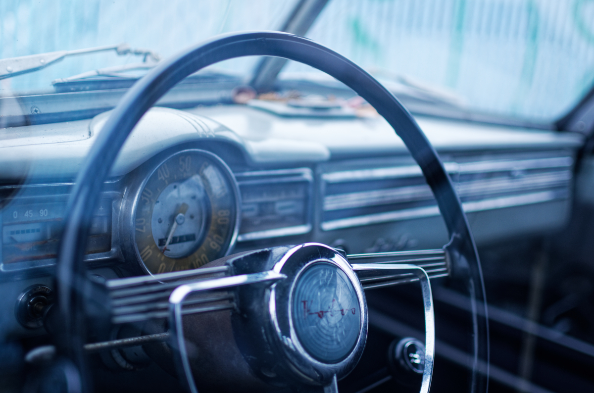 vintage volvo wheel through car window