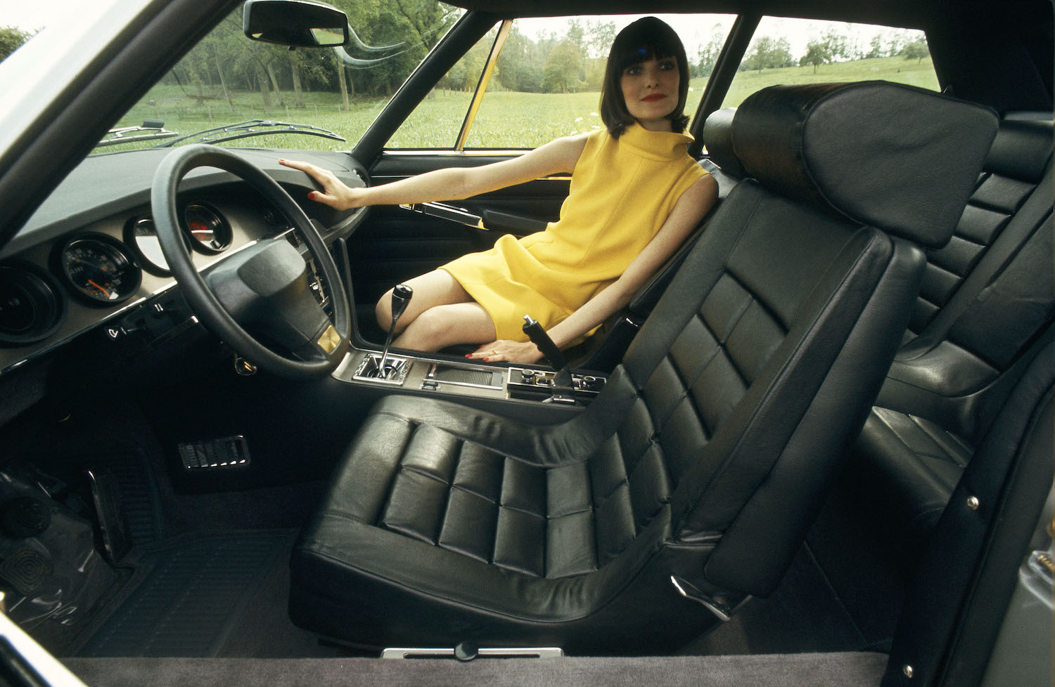 black leather interior with model
