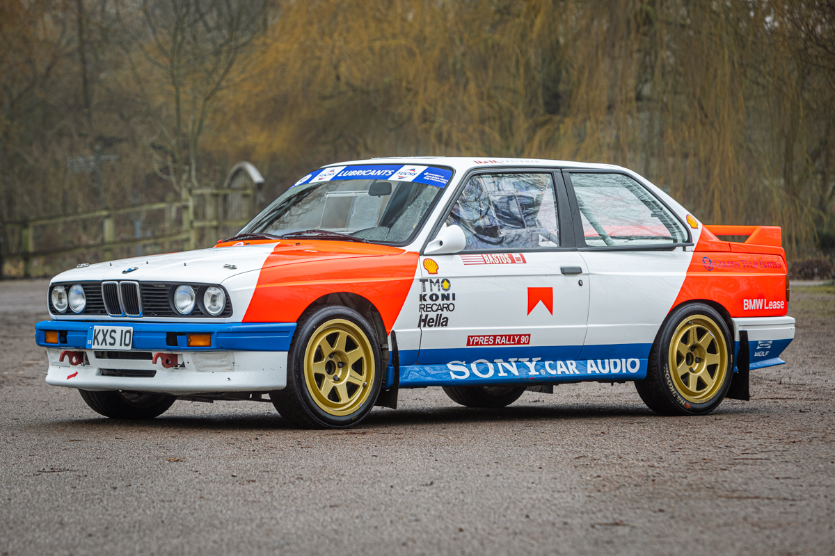 1986 BMW E30 M3 Rally Car front three-quarter