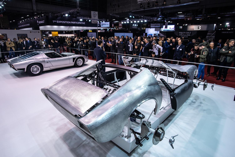 Lamborghini miura restoration rear three-quarter body on stand
